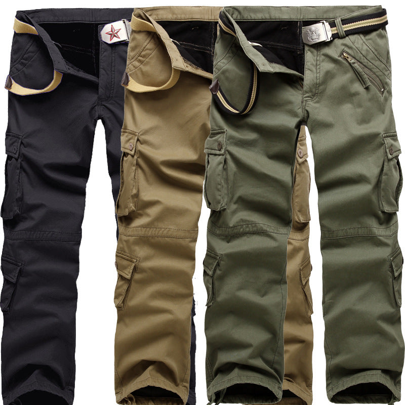 Plus Size Men's Outdoor Military Thicken Warm Multi-Pocket Trousers