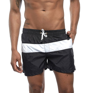 8 Colors Men's Striped Stitching Breathable Sports Beach Shorts