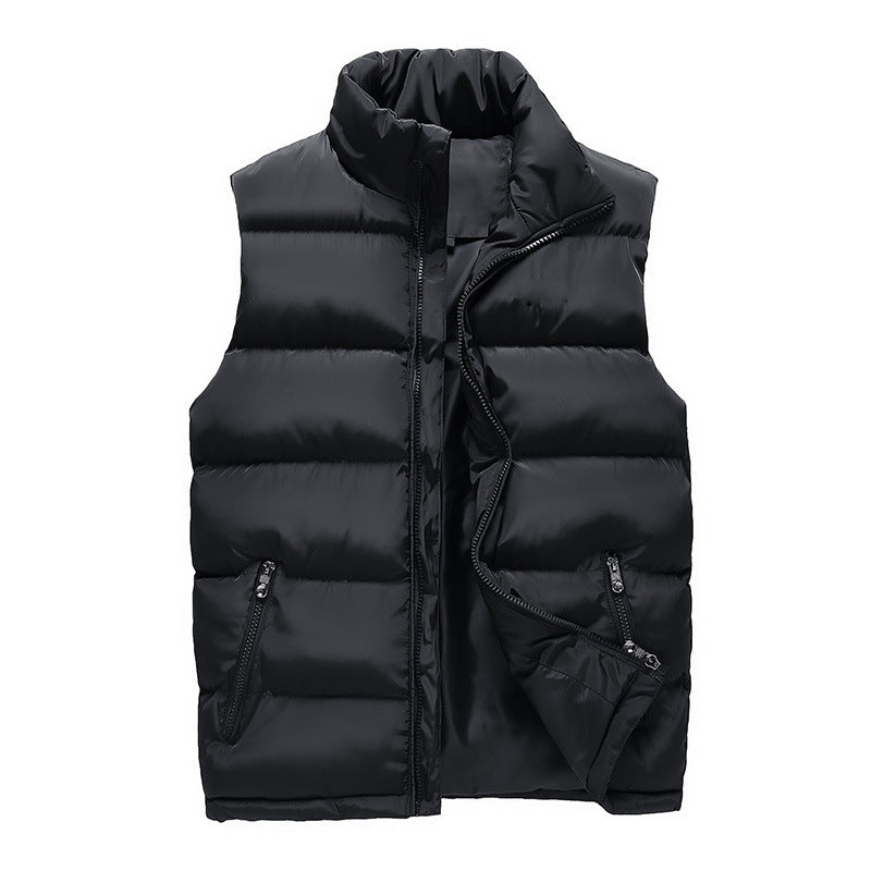 Plus Size M-6XL Men's Thick Warm Stand Collar Vest