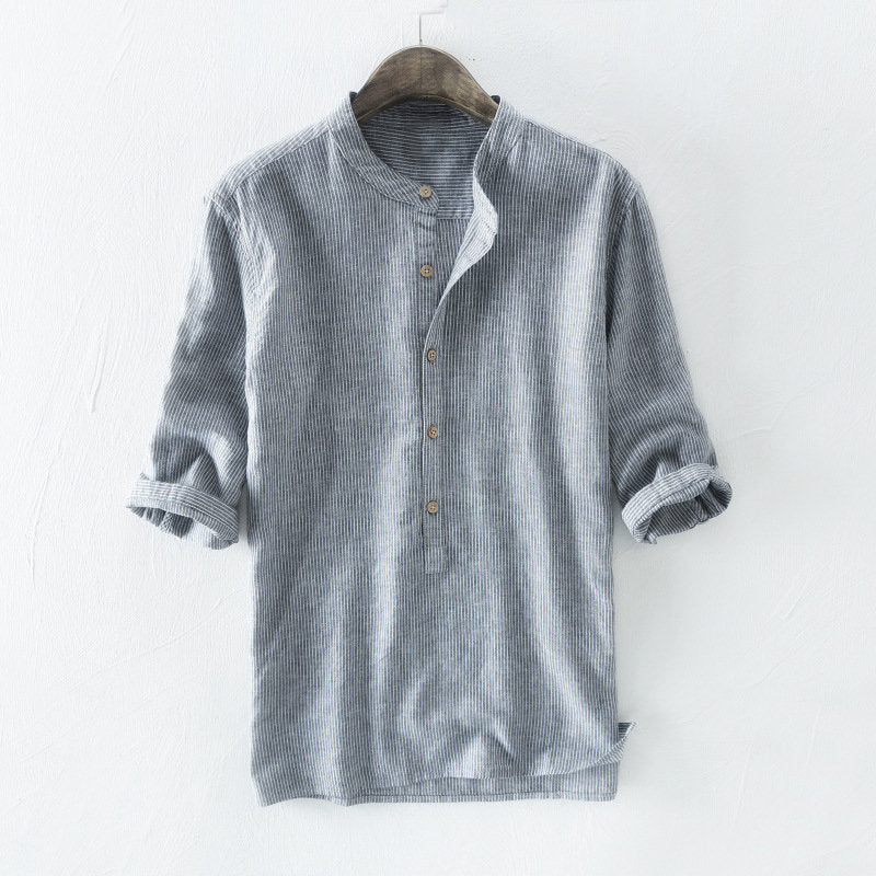 Plus Sizes M-5XL Men's 100% Cotton Striped Vintage Loose Casual Shirt