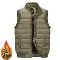 Plus Size M-5XL Thick Military Warm Stand Collar Vest