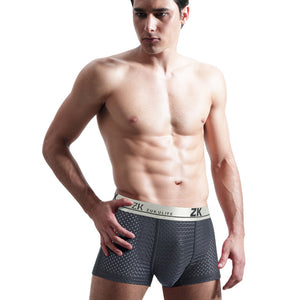 L-5XL Men's Sexy Panties Ice Silk Hollow Soft  Breathable Boxer Briefs