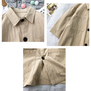 Men's Casual Big Pockets Shirt Large Sizes Stand Collar Solid Color Tops