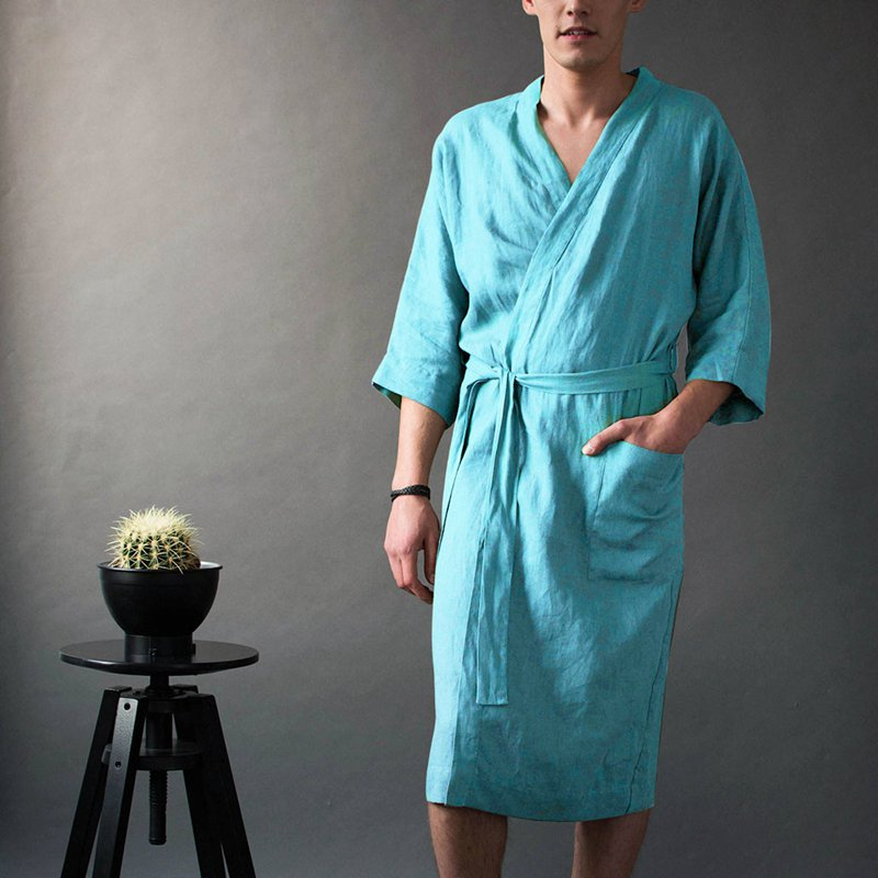 Unisex Long Solid Color Linen Cotton Pajamas V-neck Robe Bathrobe
