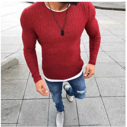 Men's Round Neck Casual Knitted Pullovers Sweater