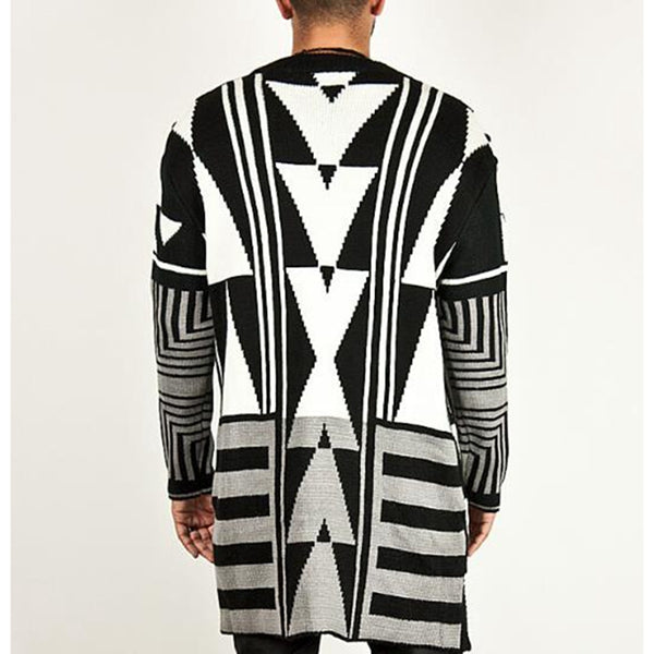 Men's Black-white Casual Geometry Printed Knit Sweater Coat