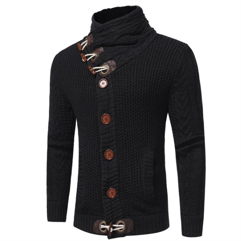 Horn Buckle High Collar Solid Color Pullovers Sweater