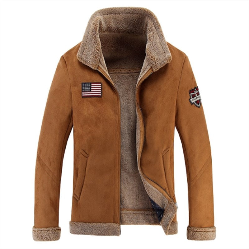 Men's Casual Warm Woolen Lapel Jacket