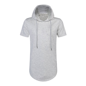 High Street Hoodies Men's Hip Hop Side Zipper  Pullover Arc Hem T-shirt