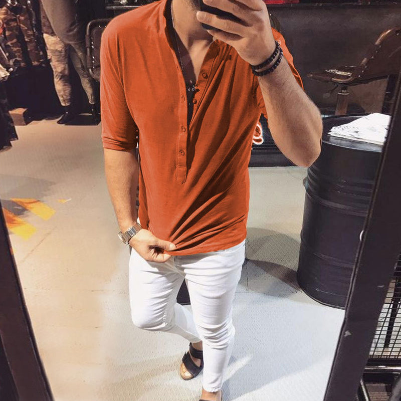 Men's Casual Fitted T-Shirts Half Sleeve Cotton Low Cut T-Shirts