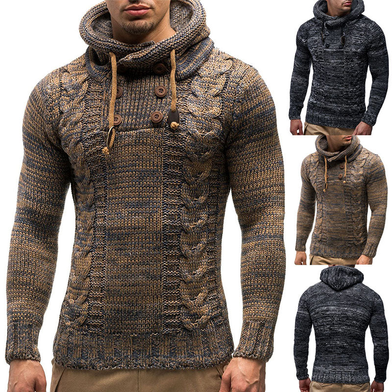 Men's Slim High Round Neck Kintted Sweater Pullovers
