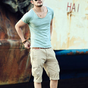 Men's Cotton Bamboo V-neck T-Shirt Casual Slim Short Sleeve Tops