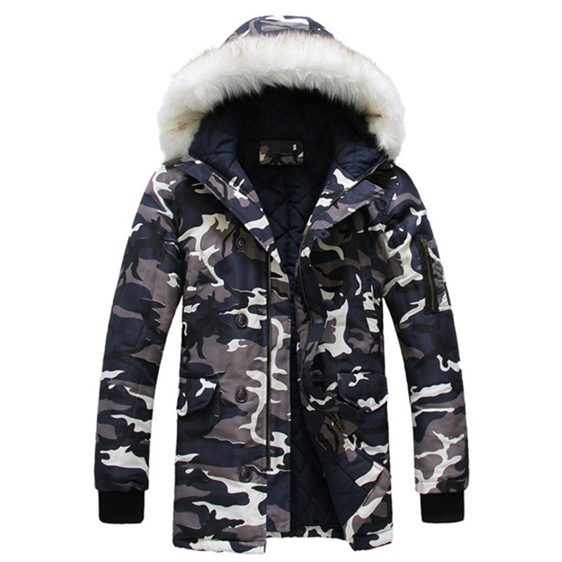 Men's Camouflage Thickened Hooded Warm Long Coat