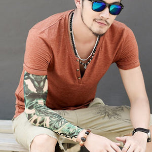 Men's Solid Color V-Neck T-Shirt Summer Short Sleeve Tops