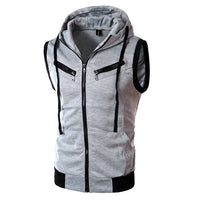 Men's Casual Hoodie Zipper Sleeveless Sweatshirts