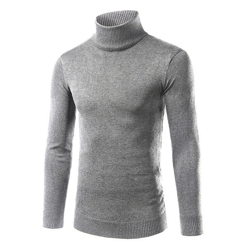Men's Comfortable Solid High Collar Sweater Pullovers