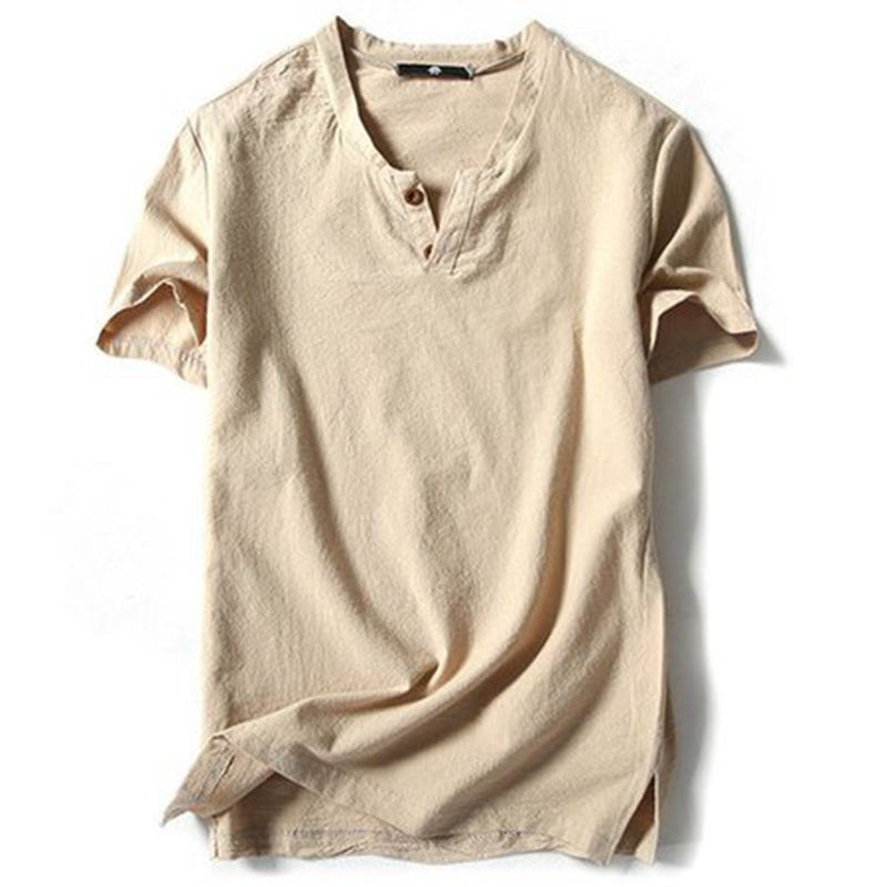 Plus Sizes M-5XL Men's Linen Solid Color Casual T-Shirts