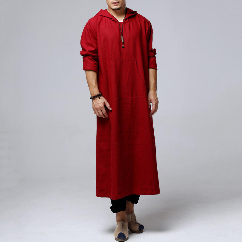 Plus Sizes S-5XL Men's Vintage Style Loose Front Pocket Hooded Long Shirts Kaftan Tops