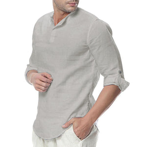 Cotton Button Neck Shirts Men's Casual Sleek Tops