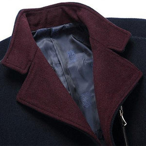 Men's Business Wool Chest Pocket Casual Solid Color Jacket