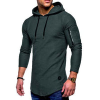 Men's Casual Curved Hem Hoodies