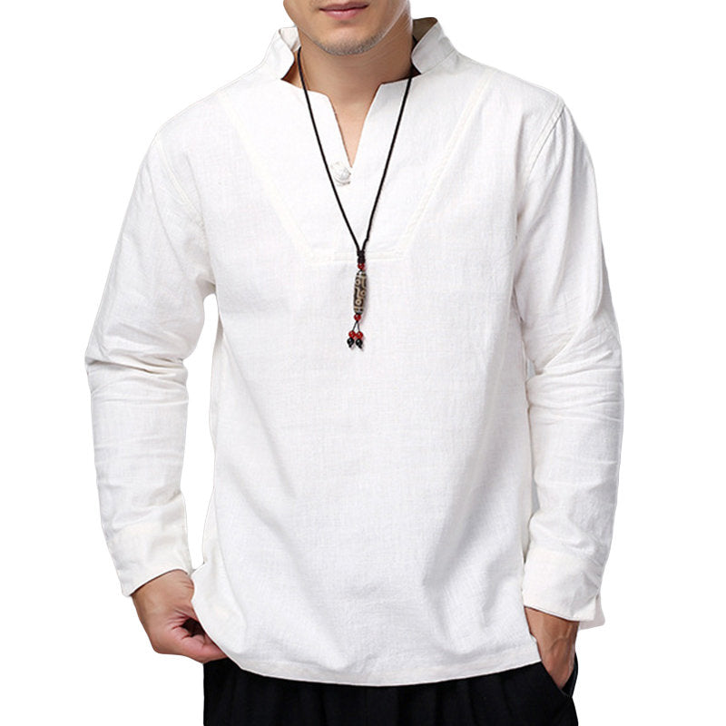 Plus Size Men's Vintage Cotton Linen Loose T-Shirts