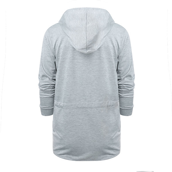 Mens Fashion Solid Color Casual Mid-long Hooded Coat