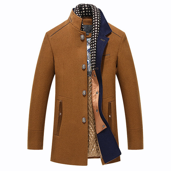 Casual Stylish Wool Detachable Scarf Mid Long Trench Coat