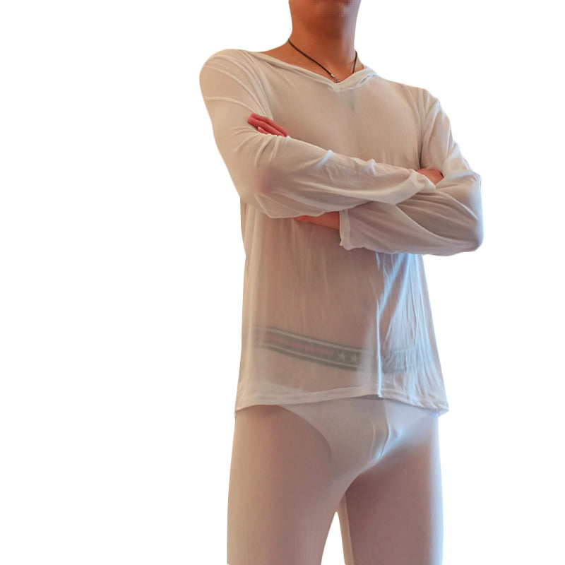 Men's Perspective Breathable Home Sets Sexy Transparent Mesh Pajamas Set