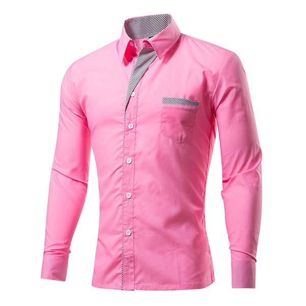 Mens Fashion Long Sleeve Slim Design Formal Casual Dress Shirt
