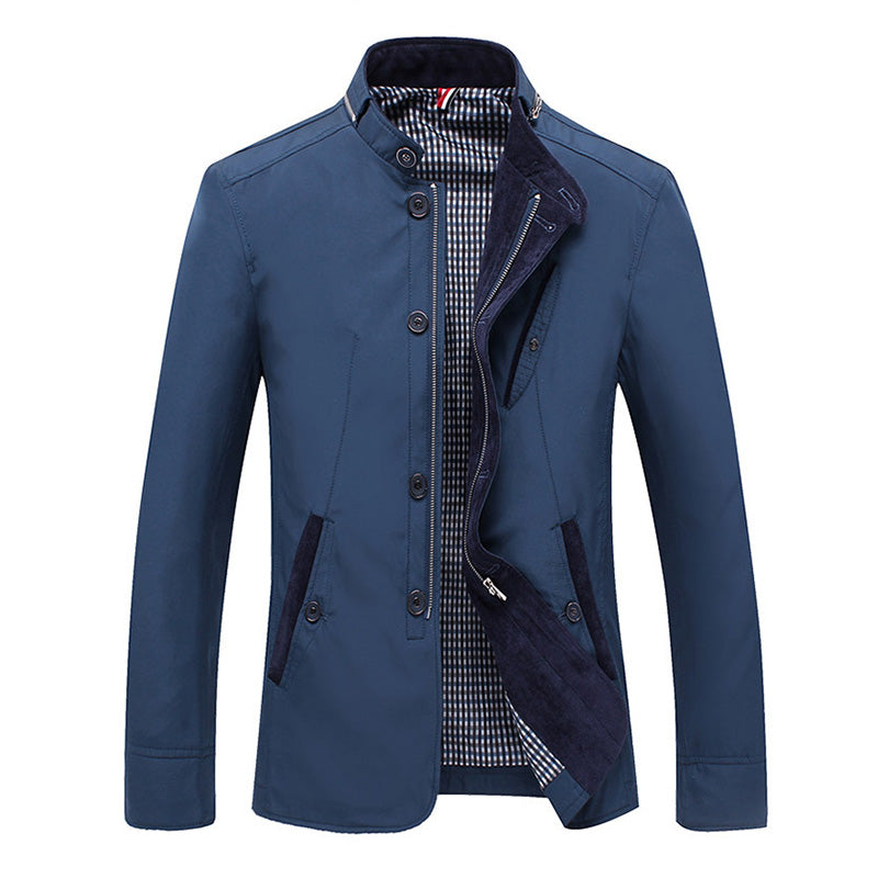 Casual Stand Collar With Zipper Slim Fit Jacket
