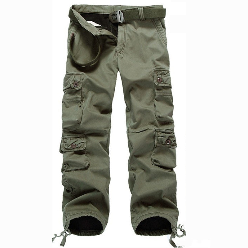 Plus Size Men's Outdoor Military Multi-Pocket Casual Thicken Pants
