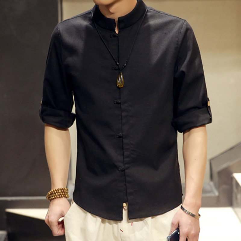 Chinese Style Button Linen Shirts Men's Casual Seven-point Sleeves Tops