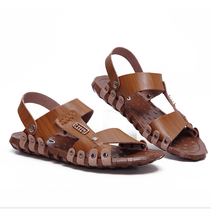 Summer Men's Cowhide Leather Casual Sandals