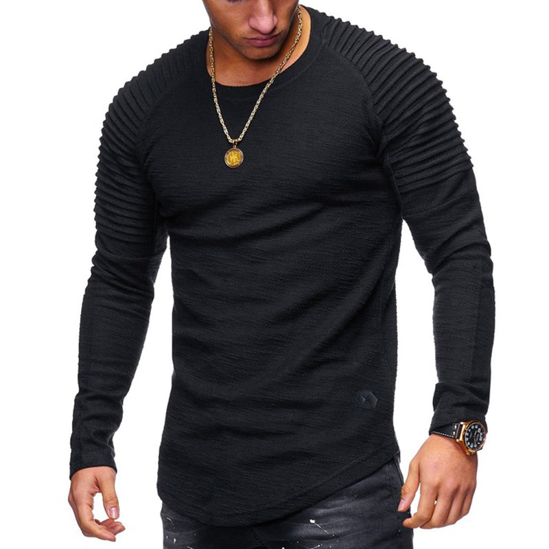 Striped Fold Raglan Cotton T-shirt