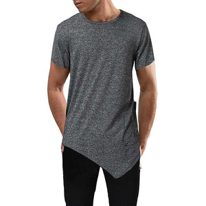 Men's Round Neck Tees Slim Irregular Hem Short-sleeved T-shirt