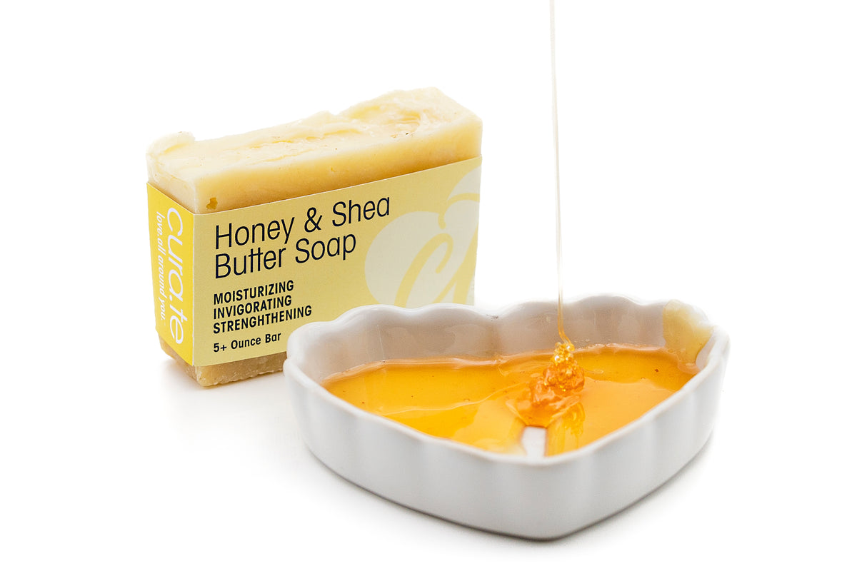 Organic Bar Soap Honey & Shea Butter 5+ oz bar with label band