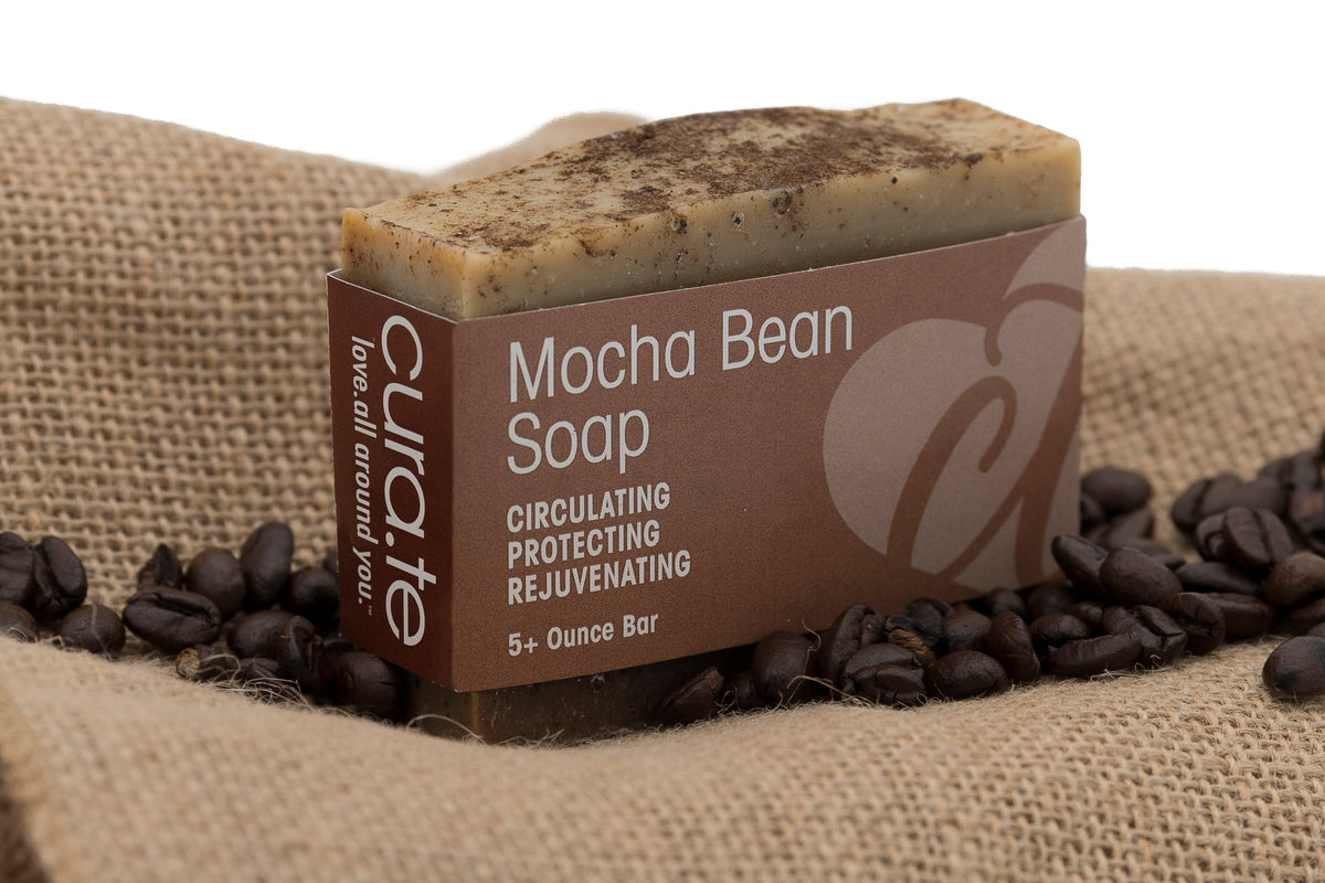 Organic Bar Soap Mocha Bean Scrub 5+ oz bar with label band