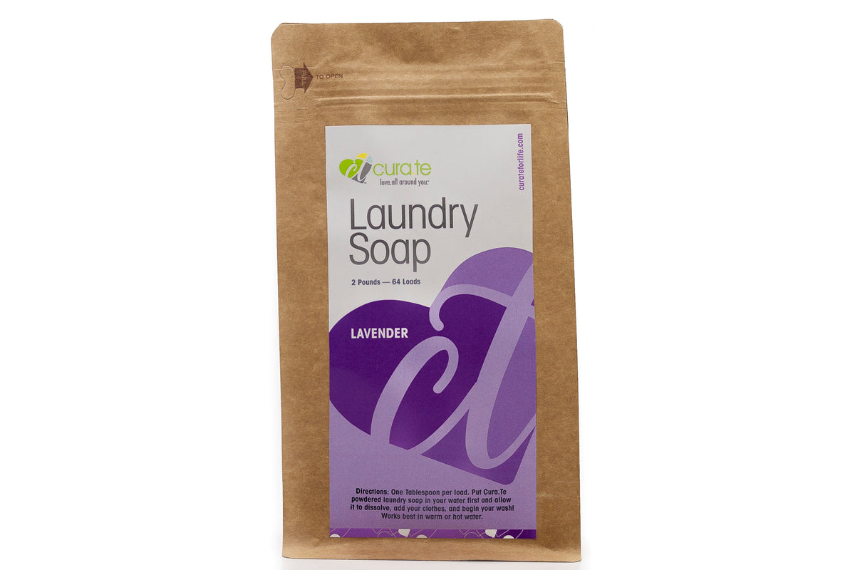 Lavender Scented Organic Powdered Laundry Soap by Cura.Te Organics in 2lb Bag