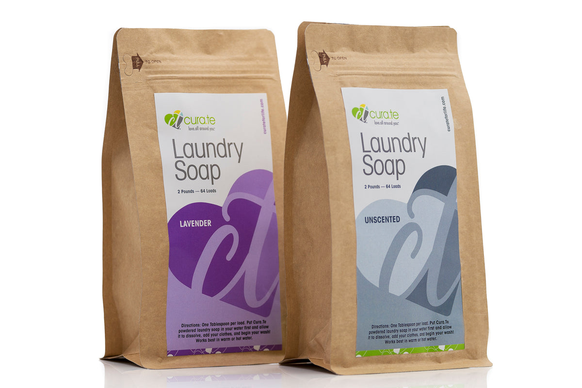 Unscented Organic Powdered Laundry Soap by Cura.Te Organics in 2lb Bag