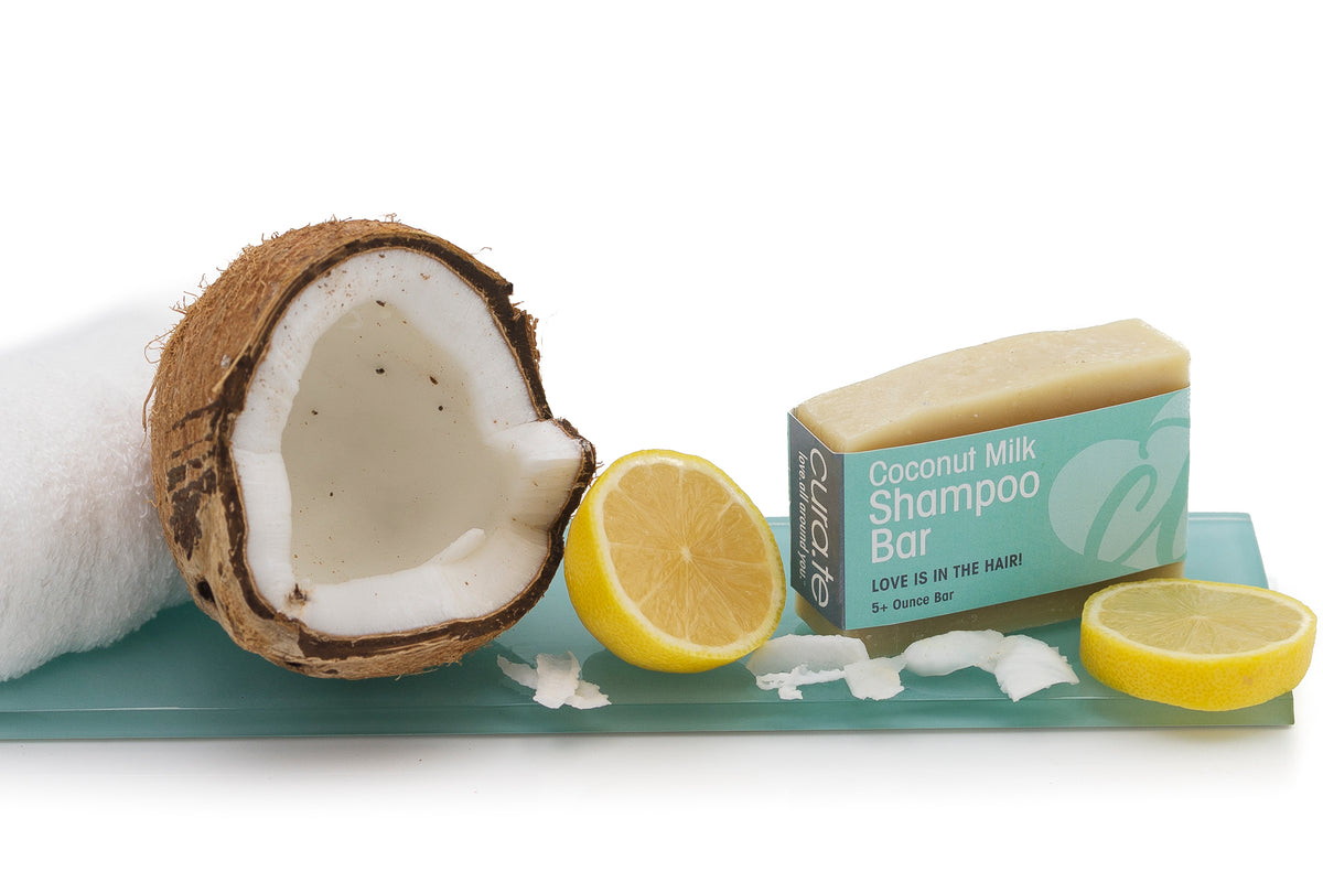 Organic Shampoo Bar Coconut Milk 5+ oz bar with label band