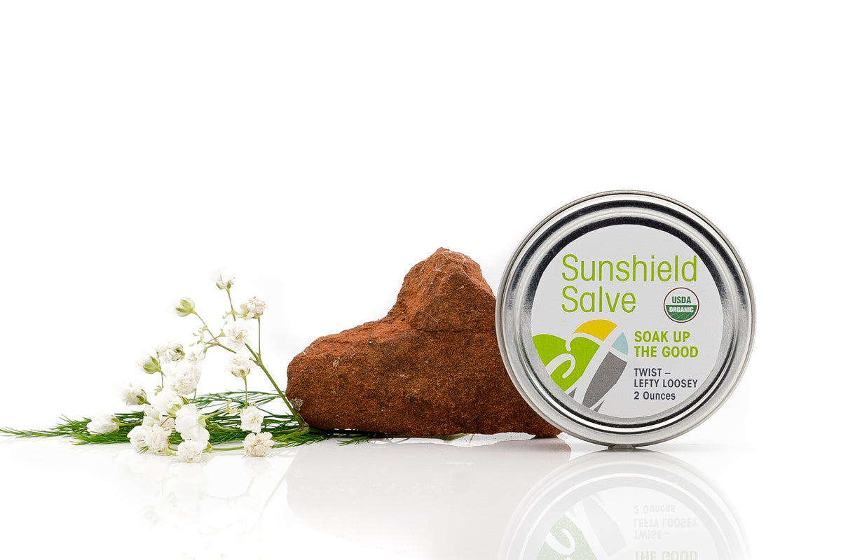 Organic Sunshield Salve by Cura.Te Organics in 2 ounce tin with twist top