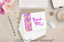 Load image into Gallery viewer, Thank You Notecards Magenta Chevron