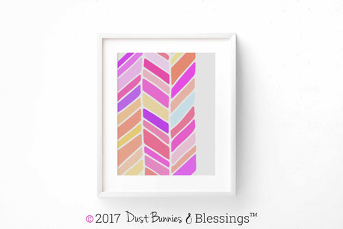 VIBRANT: Chevron Fuschia and Olive Modern Wall Art