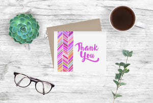 Thank You Notecards Magenta Chevron