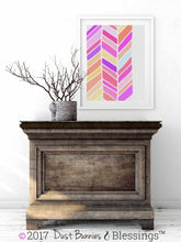 Load image into Gallery viewer, VIBRANT: Chevron Fuschia and Olive Modern Wall Art