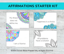 Load image into Gallery viewer, Adult Coloring Affirmation Card Starter Kit: Channel Your Inner Warrior