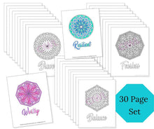 Load image into Gallery viewer, Mandala Art Mental Health Coloring Pages: Set of 30 MHR