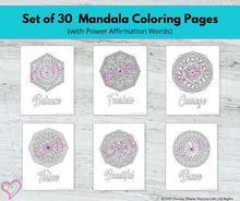 Load image into Gallery viewer, Mandala Art Mental Health Coloring Pages: Set of 30 SCR