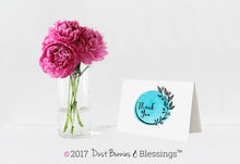 Load image into Gallery viewer, Thank You Notecards Turquoise Watercolor Wreath